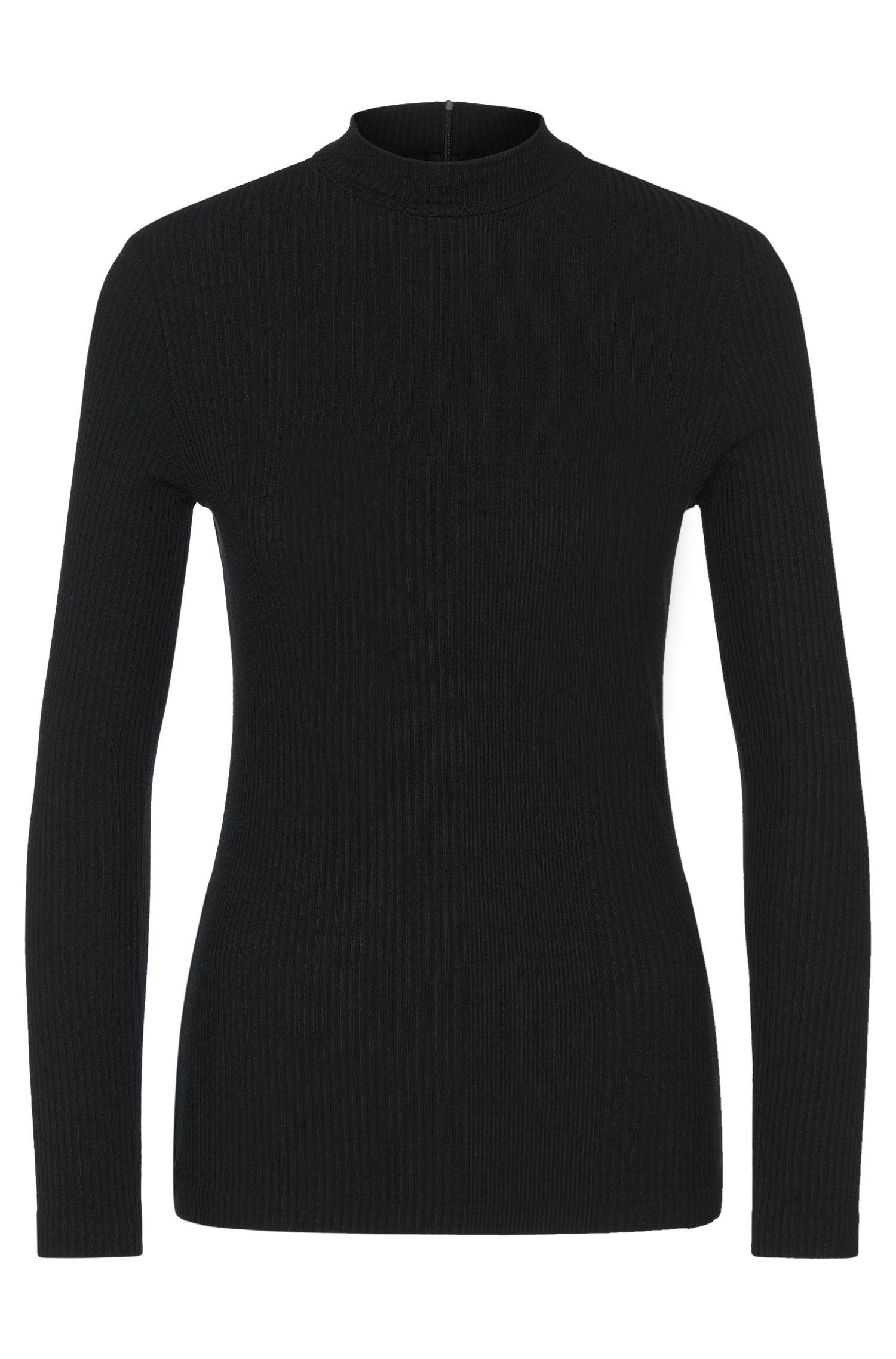 T-shirt à manches longues en viscose stretch avec col mao: «Elaise»