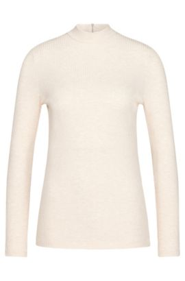 Long-sleeved top in stretch viscose with band collar: 'Elaise', Light Beige