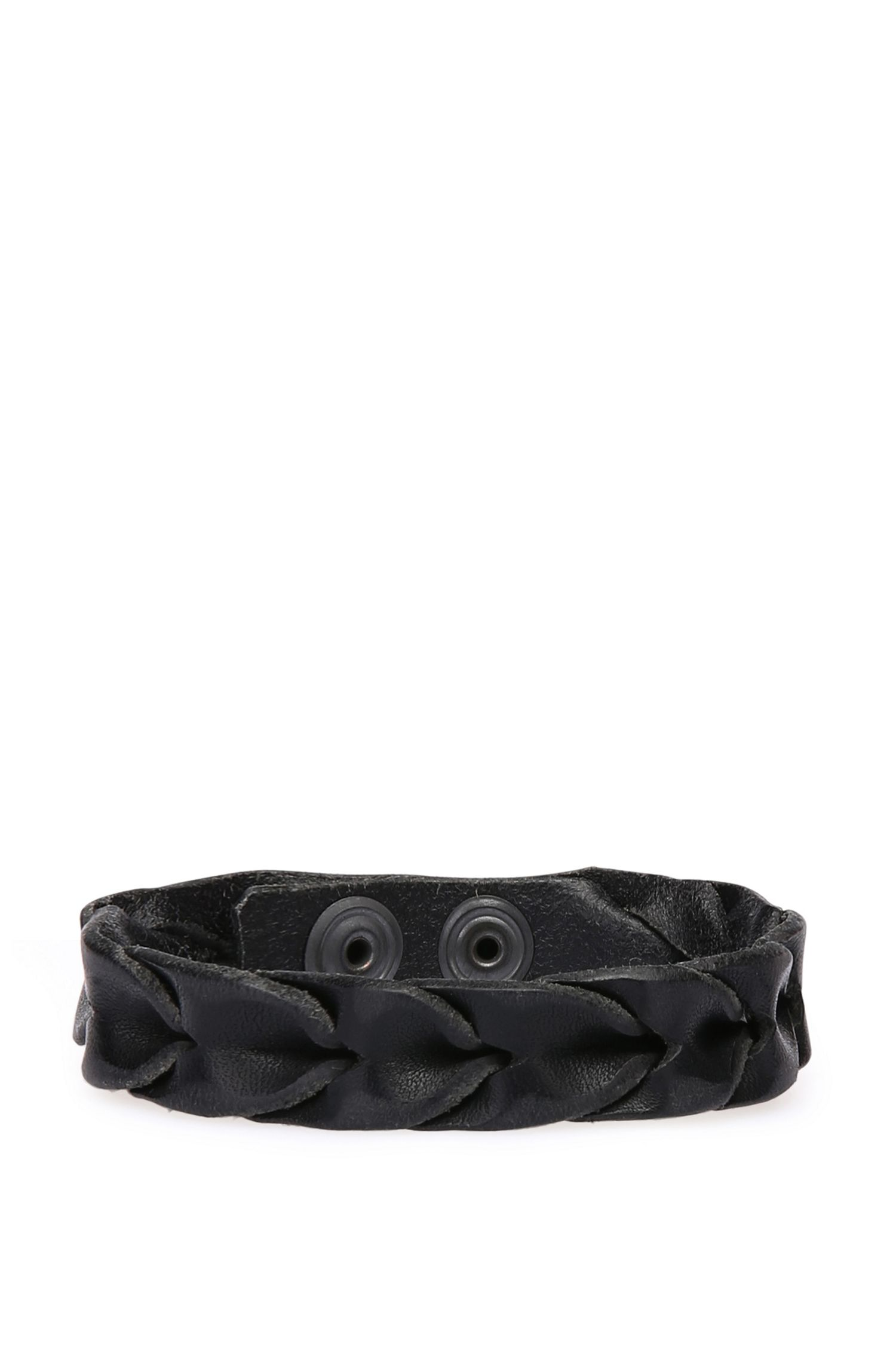 Leren armband in vlechtlook: 'Maddox'