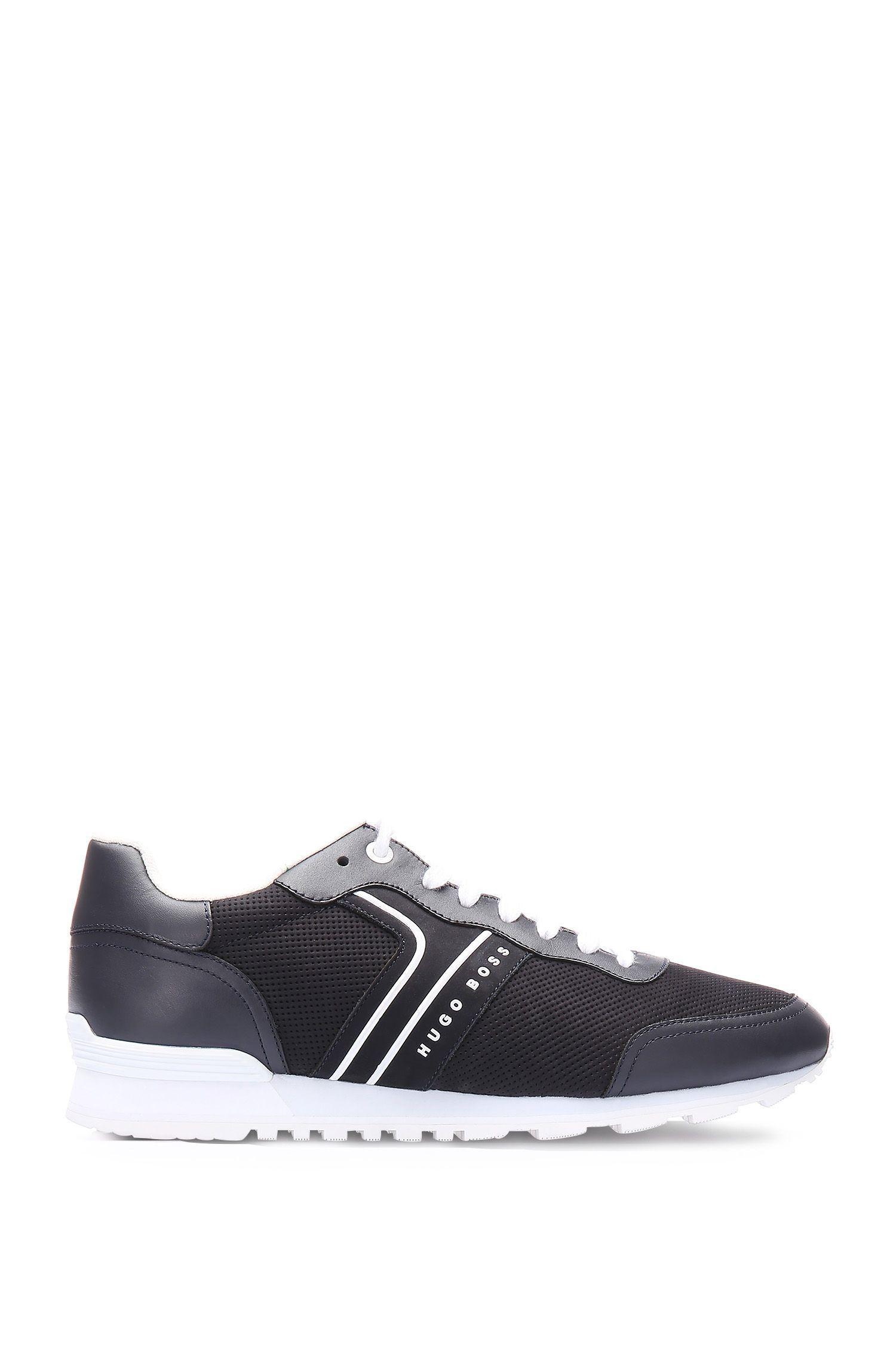 Sneakers van een leermix met perforaties: 'Parkour_Runn_ltnu'