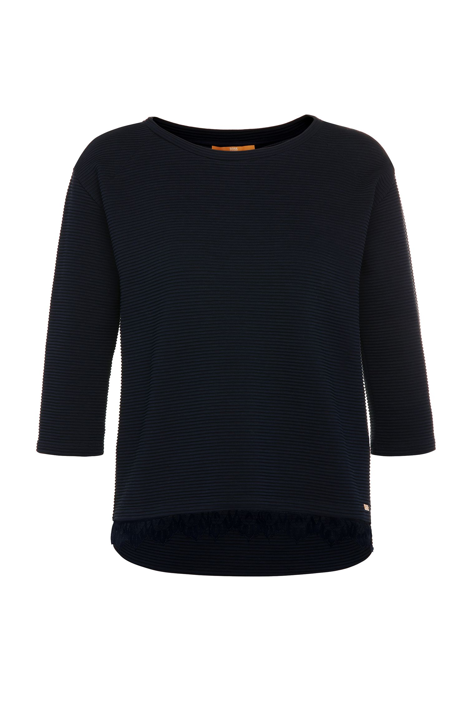 Jersey regular fit a rayas con textura elaborado en mezcla de algodón elástico: 'Tripy'