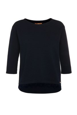 Regular-fit sweater in stretch cotton blend with a striped texture: 'Tripy', Dark Blue