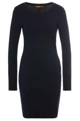 Gestructureerde slim-fit jurk van een elastische katoenmix: 'Derbody', Donkerblauw