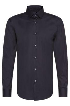 Unifarbenes Slim-Fit Hemd aus Baumwoll-Mix: 'Jenno', Dunkelblau