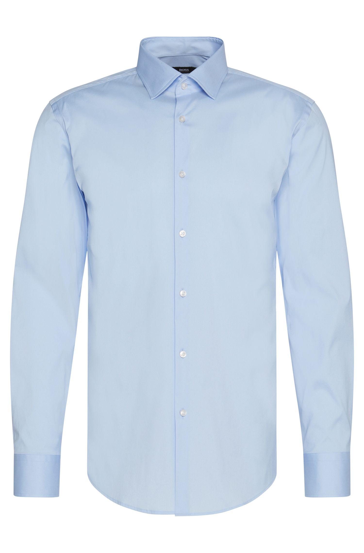 Camisa lisa slim fit en mezcla de algodón: 'Jenno'