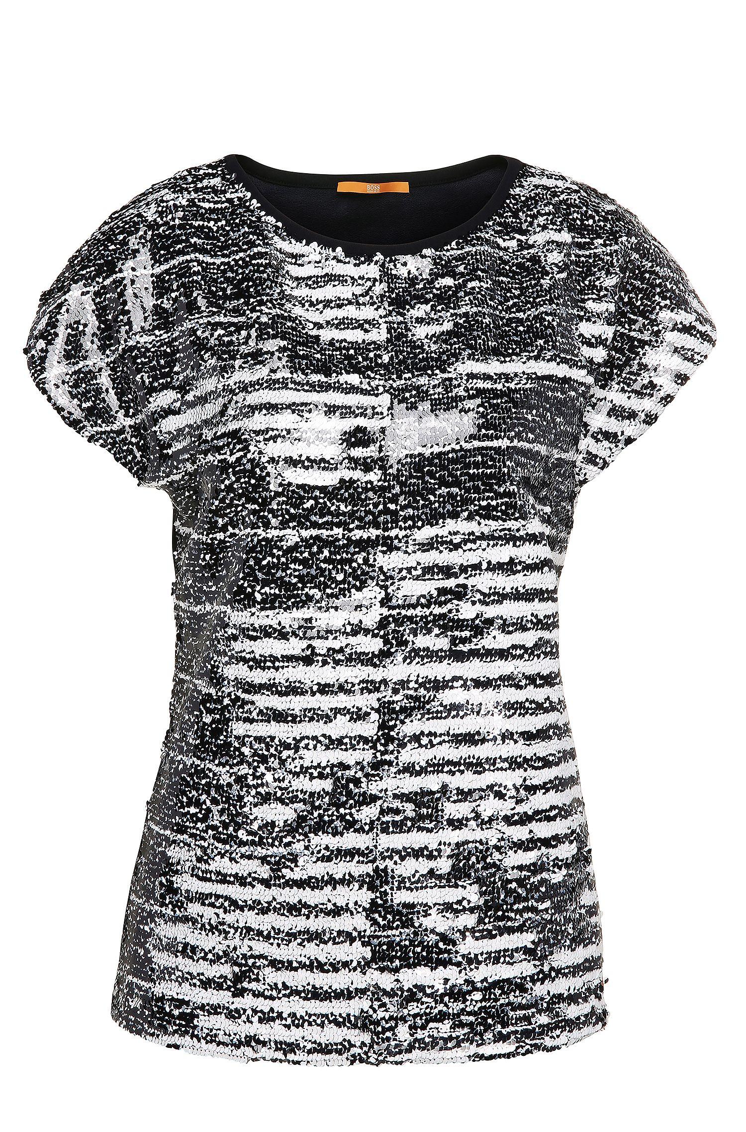 Slim-Fit Pailletten-Shirt aus elastischem Viskose-Mix mit Baumwolle: ´Tembroidy`