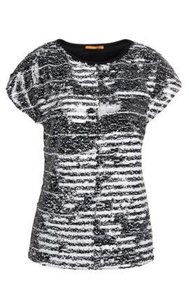 Slim-Fit Pailletten-Shirt aus elastischem Viskose-Mix mit Baumwolle: ´Tembroidy`, Dunkelblau