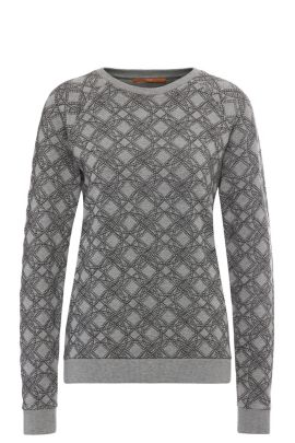 Regular-fit printed sweatshirt in stretch viscose blend with cotton: 'Ticonica', Grey