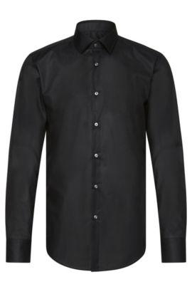Plain slim-fit cotton shirt: 'Jenno', Black