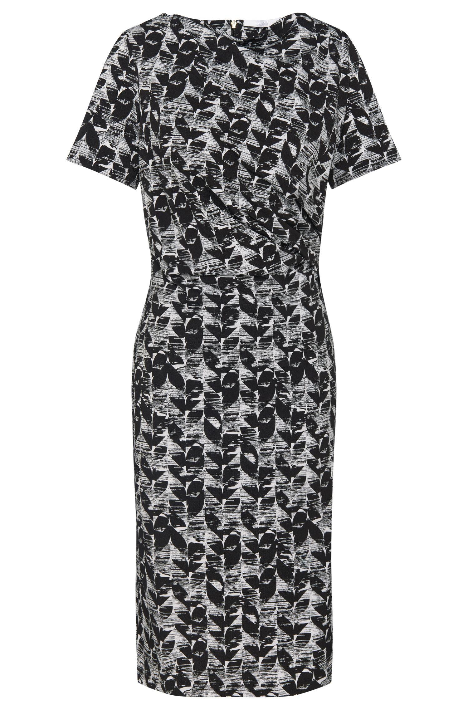 Gemustertes Kleid aus Stretch-Viskose mit dezenter Raffung: 'Etala'