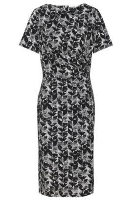 Gemustertes Kleid aus Stretch-Viskose mit dezenter Raffung: 'Etala', Gemustert