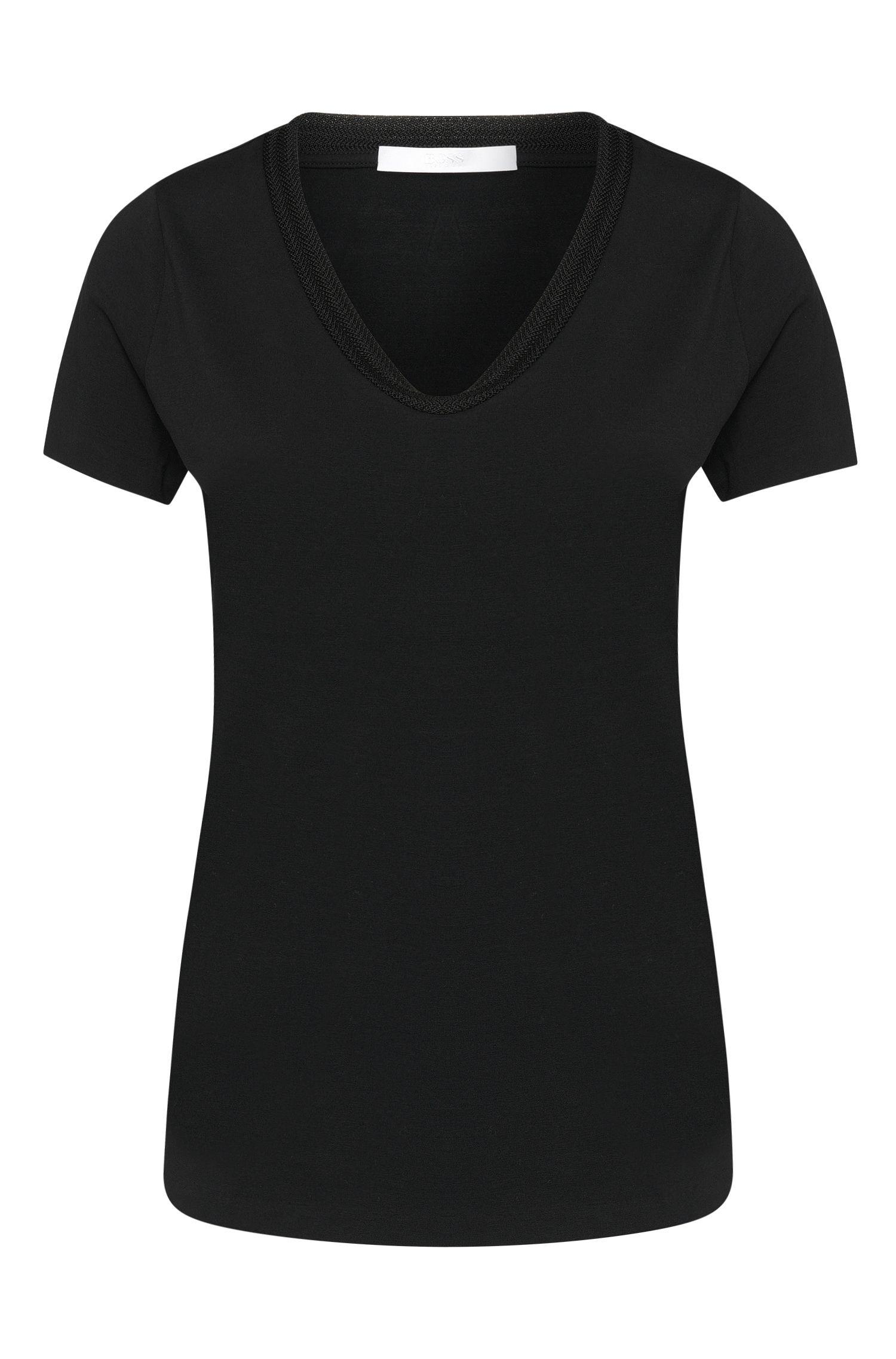 Tailliertes T-Shirt aus elastischer Baumwolle: 'Estana'
