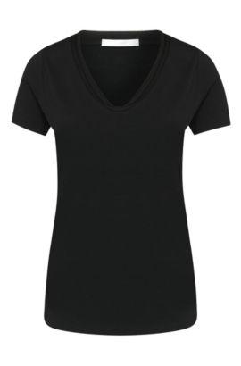 T-shirt cintré en coton extensible: «Estana», Noir