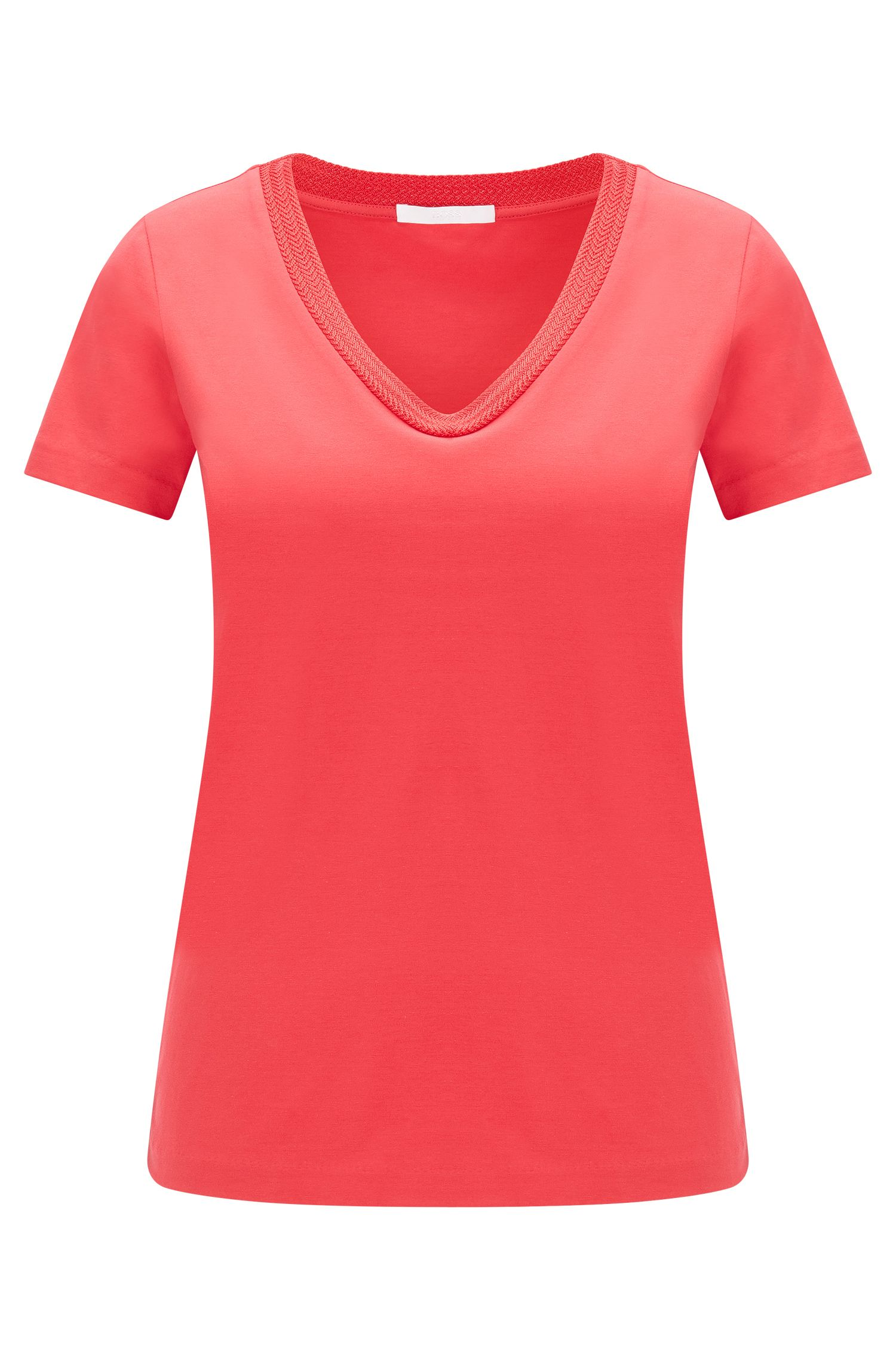 Fitted t-shirt in stretch cotton: 'Estana'