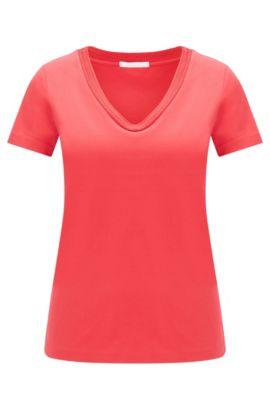 T-shirt cintré en coton extensible: «Estana», Rose foncé