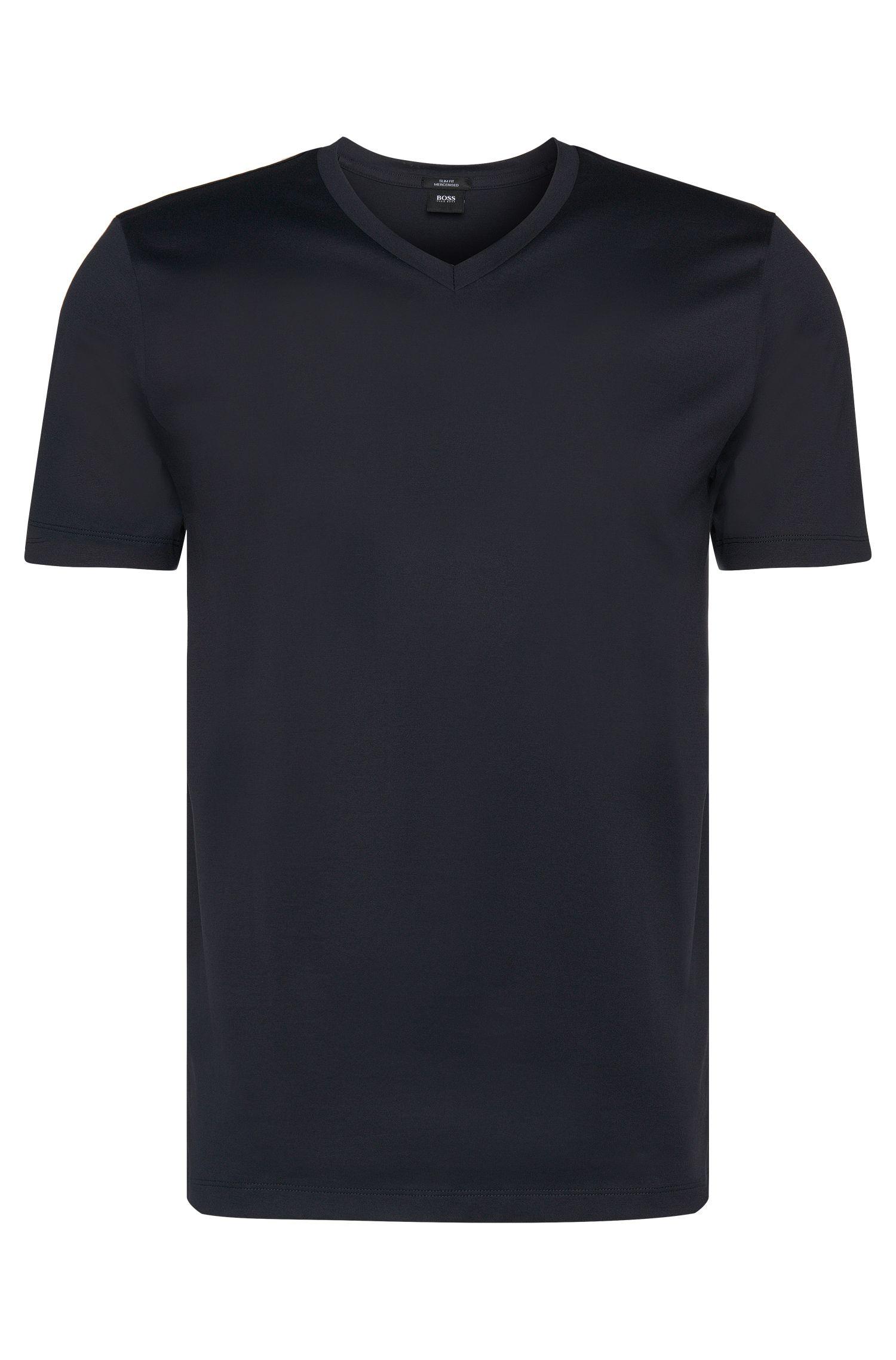 Plain slim-fit t-shirt with V-neck: 'Teal 14'