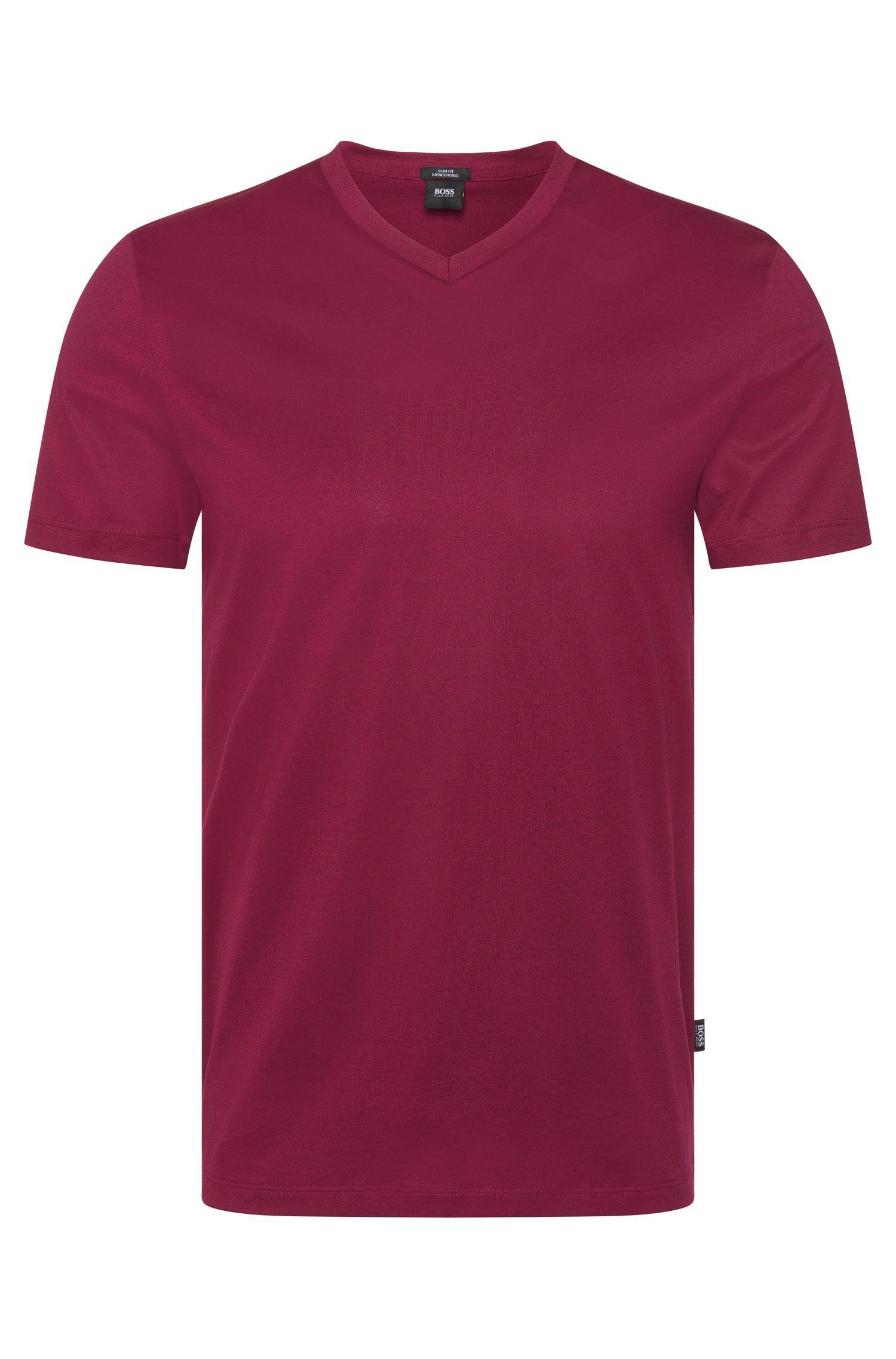 Camiseta lisa slim fit con escote en pico: 'Teal 14'