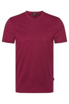 Camiseta lisa slim fit con escote en pico: 'Teal 14', Púrpura oscuro