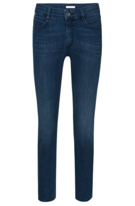 Regular-fit jeans made from stretchy cotton blend in a cropped length: 'Nelin', Dark Blue