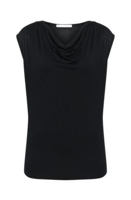 Top in viscose blend with silk and a cowl neckline: 'Eldoni', Black