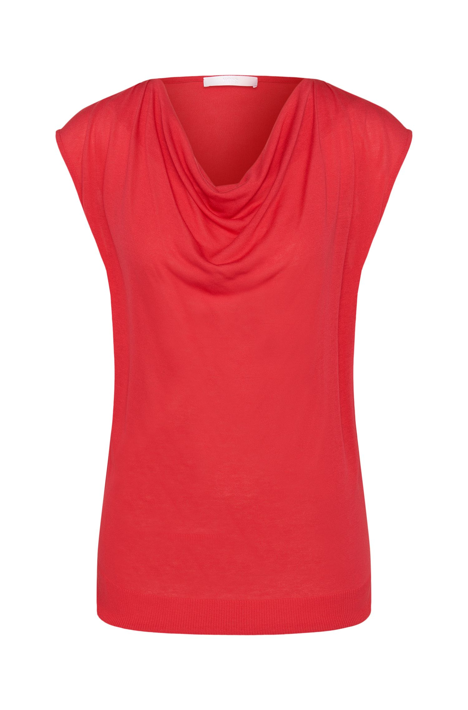 Top in viscose blend with silk and a cowl neckline: 'Eldoni'