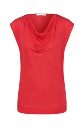 Top in viscose blend with silk and a cowl neckline: 'Eldoni', Dark pink