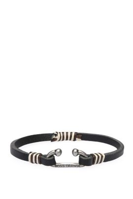 Narrow leather bracelet with hook clasp: 'Manley', Black