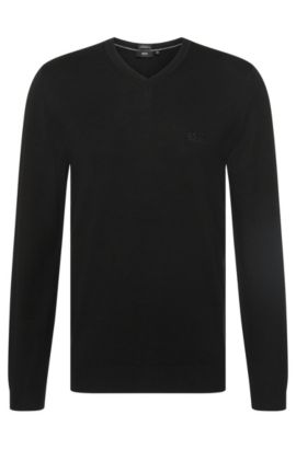 Regular-fit sweater in cotton with V-neck: 'Filipp-I', Black