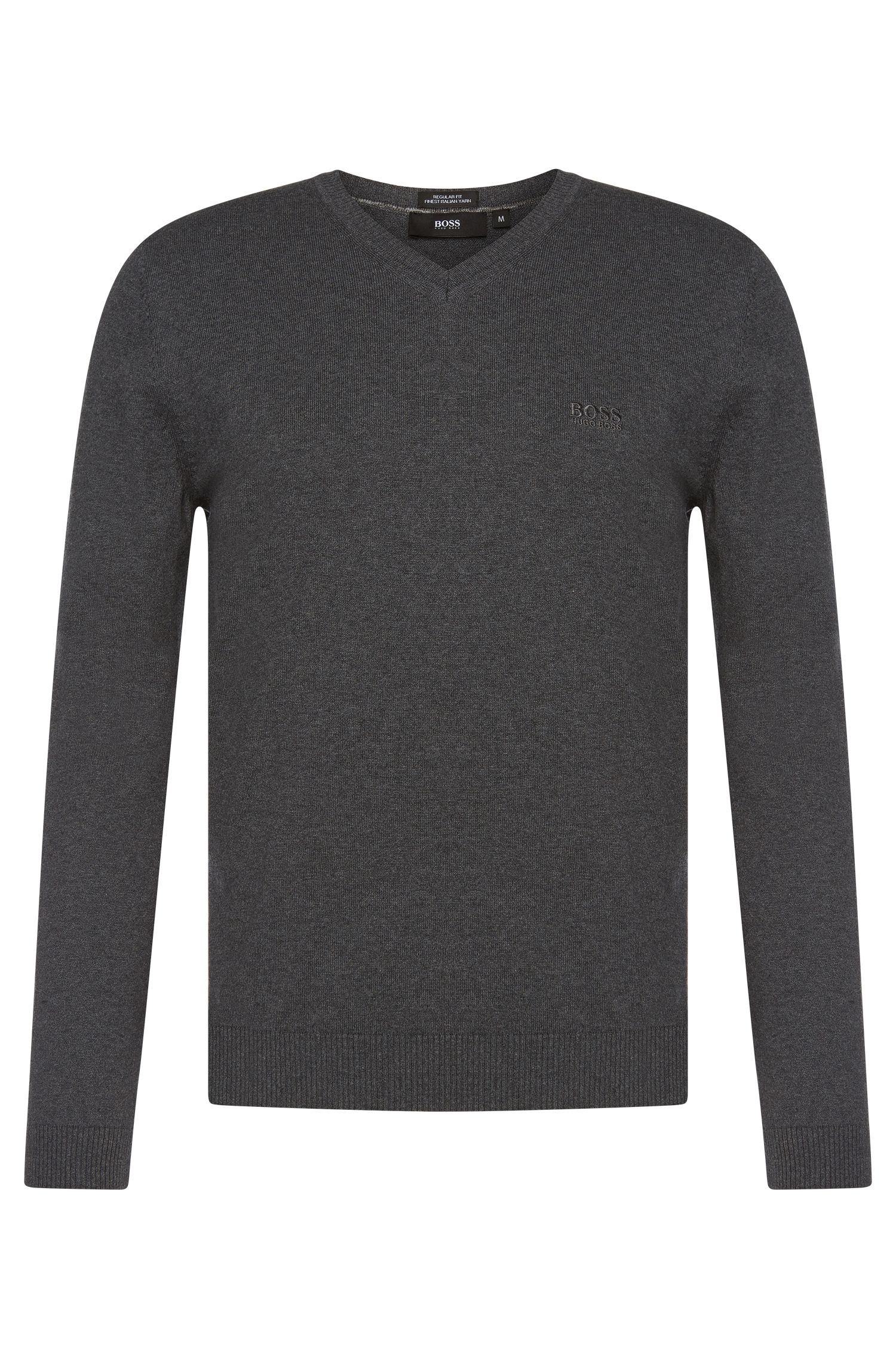 Maglione regular fit con scollo a V in cotone: 'Filipp-I'