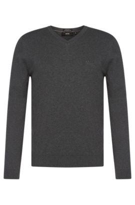 Regular-Fit Pullover aus Baumwolle mit V-Ausschnitt: 'Filipp-I', Grau
