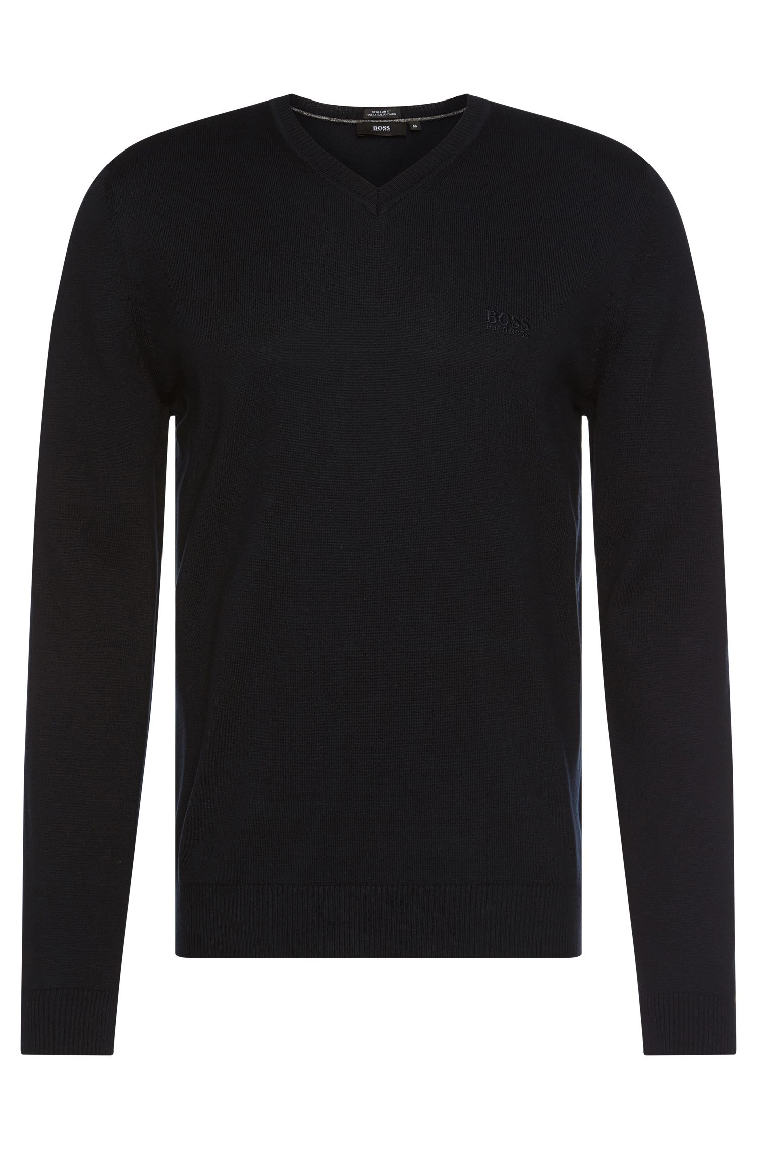 Regular-fit sweater in cotton with V-neck: 'Filipp-I'