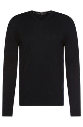 Regular-fit sweater in cotton with V-neck: 'Filipp-I', Dark Blue