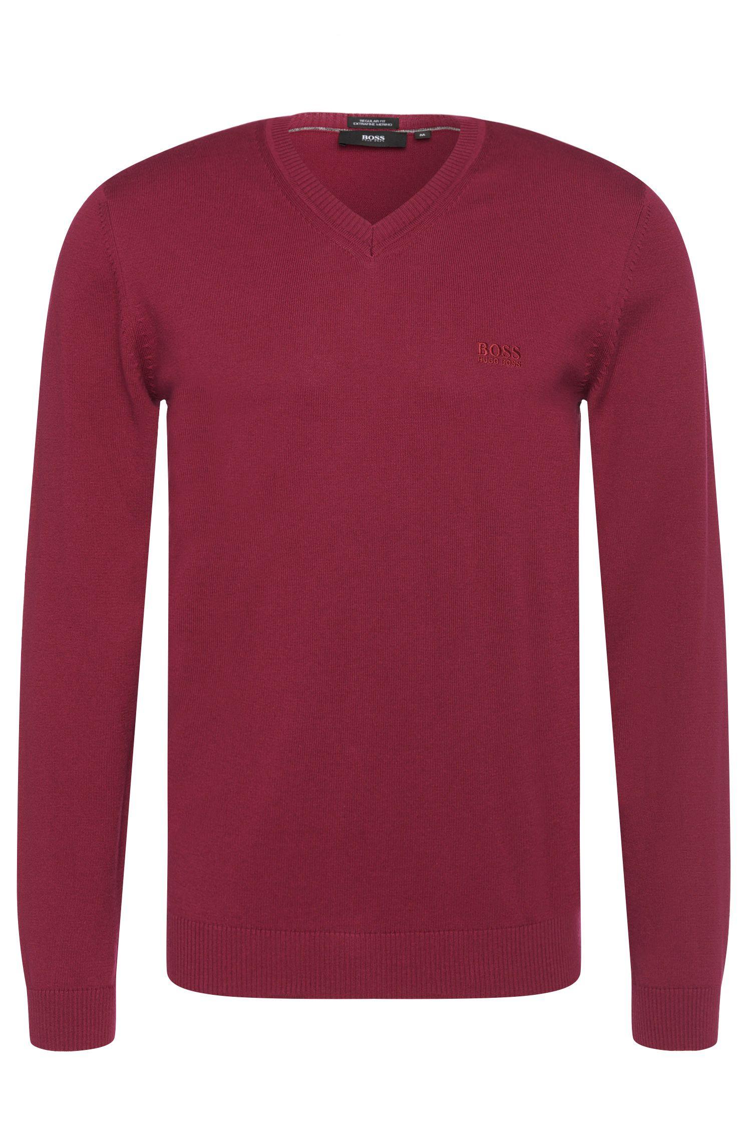 Regular-fit trui van katoen met een V-hals: 'Filipp-I'