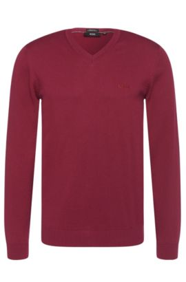 Regular-fit sweater in cotton with V-neck: 'Filipp-I', Dark Purple