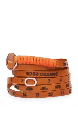 Narrow wrap-bracelet in leather: 'Minice', Light Brown