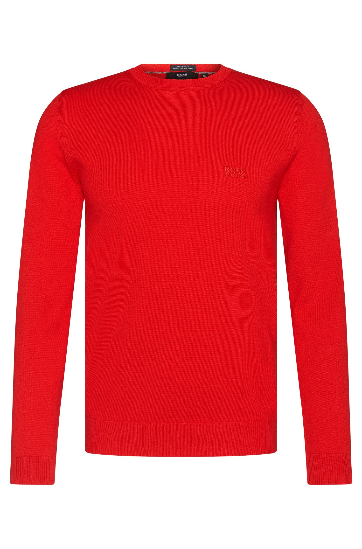 Unifarbener Regular-Fit Pullover aus Baumwolle: 'Finello-I'