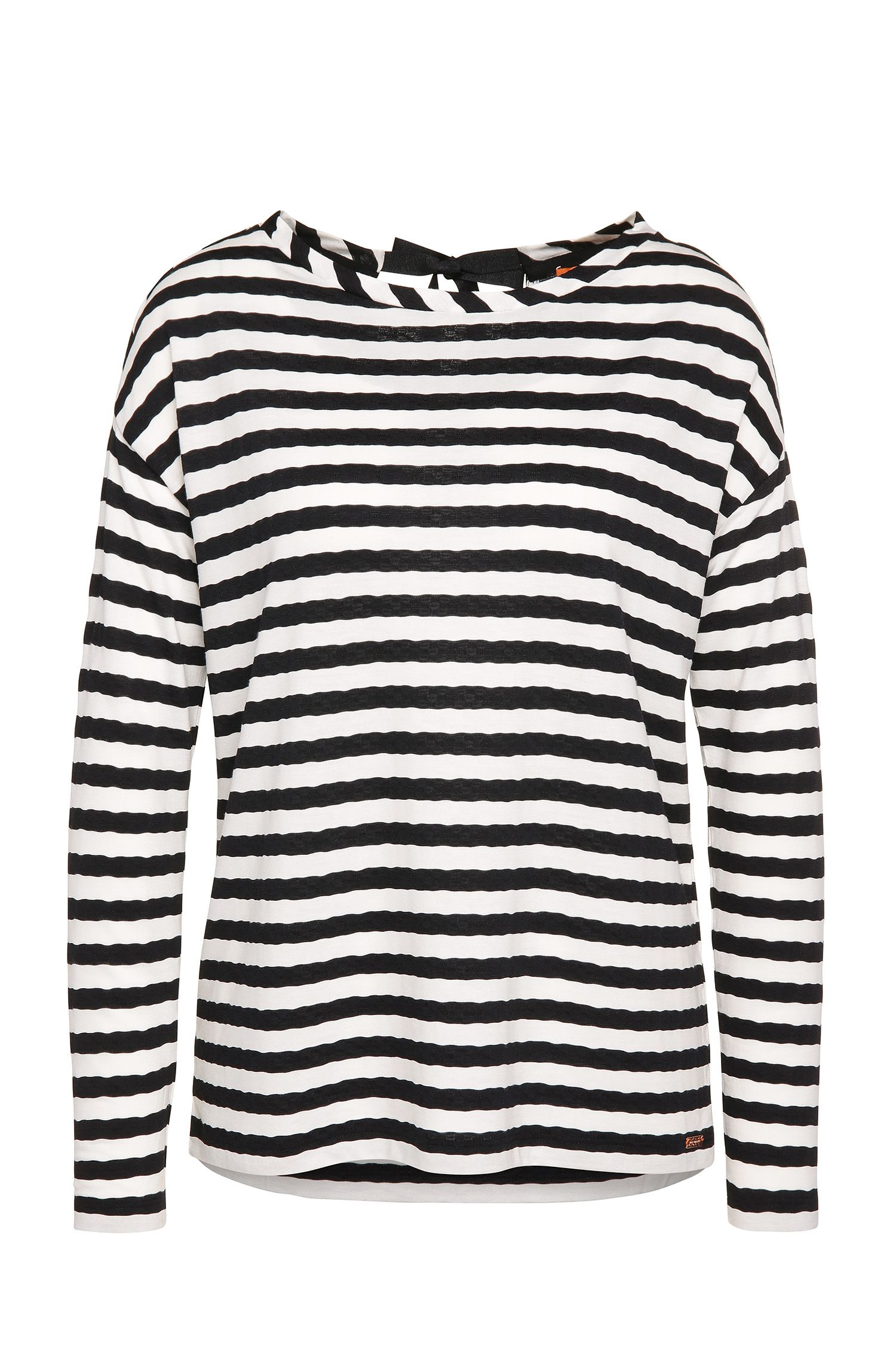 Striped regular-fit long-sleeved polo shirt in viscose blend: 'Tibow'