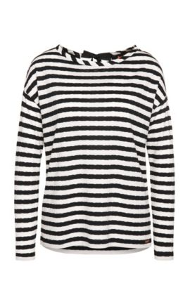 Striped regular-fit long-sleeved polo shirt in viscose blend: 'Tibow', Patterned