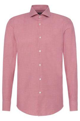 Camicia slim fit a quadri in cotone: 'Jason', Rosso