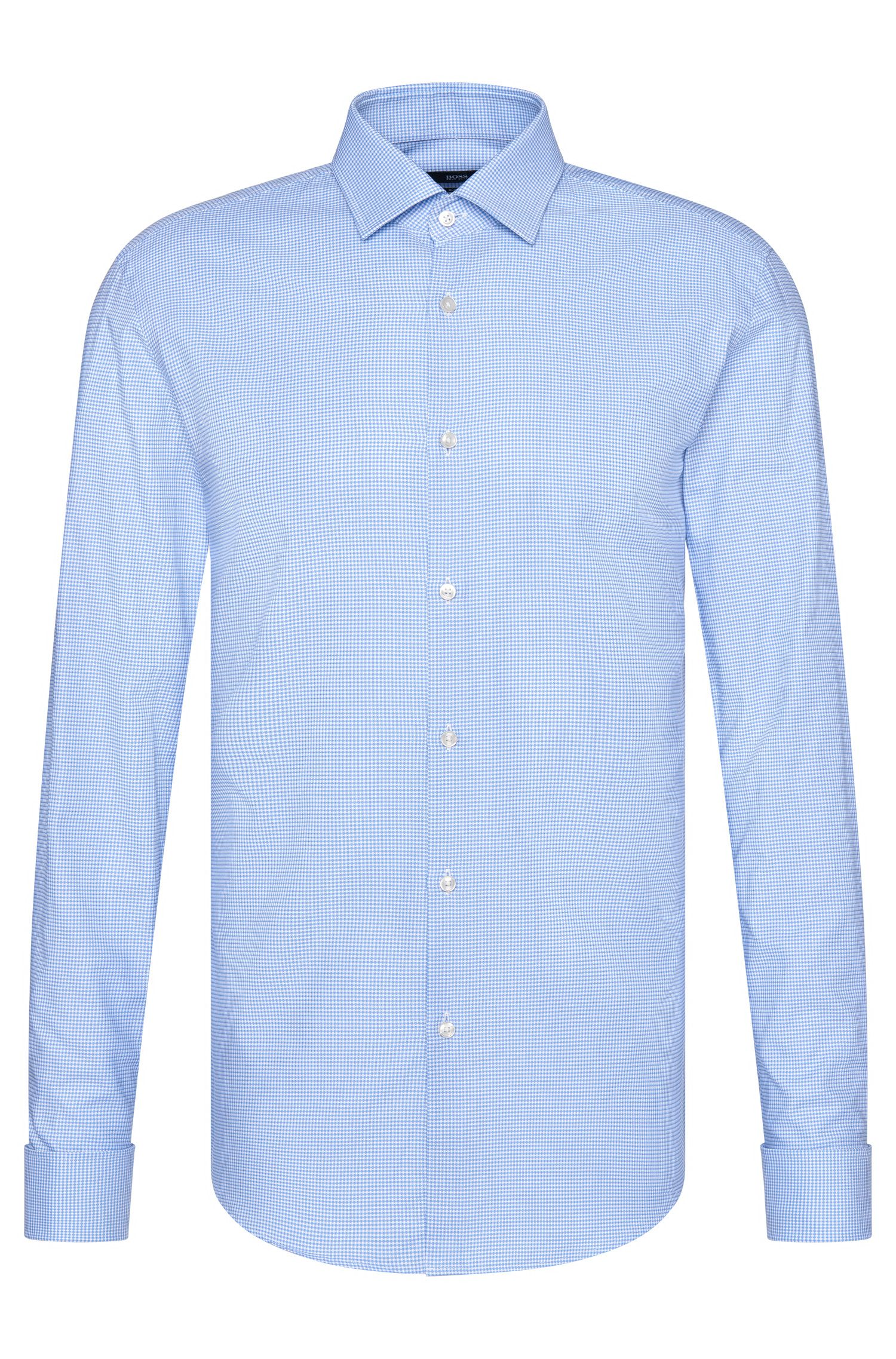 Geruit slim-fit overhemd van katoen met omgeslagen manchetten: 'Jacques'