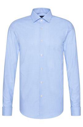 Camicia slim fit a quadri in cotone con polsini con risvolto: 'Jacques', Celeste