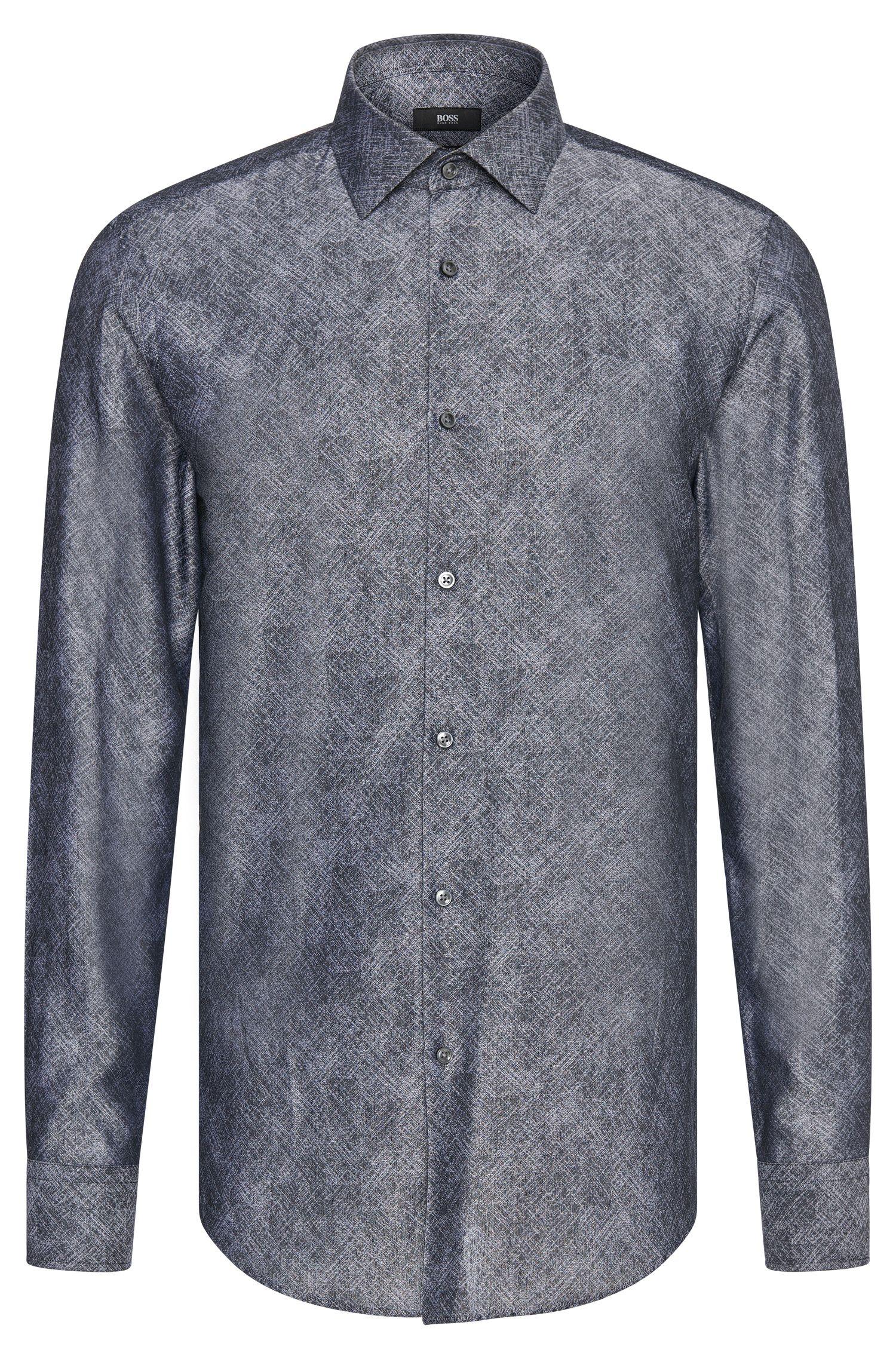Camisa slim fit con estampado fino en algodón: 'Jenno'