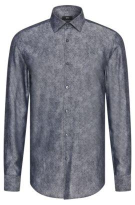 Fein gemustertes Slim-Fit Hemd aus Baumwolle: 'Jenno', Dunkelgrau