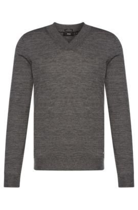 Slim-fit sweater with V-neck in new wool: 'Ice', Grey