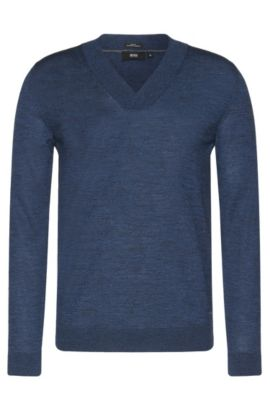Slim-fit sweater with V-neck in new wool: 'Ice', Open Blue