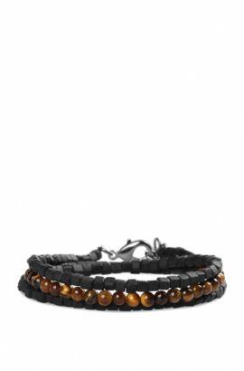 Kette aus Schmucksteinen und Katzenaugen-Perlen: ´Murry2`, Schwarz