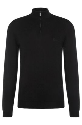 Regular-fit sweater in cotton with band collar: 'Igor', Black