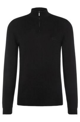 Regular-fit trui van katoen met opstaande kraag: 'Igor', Zwart