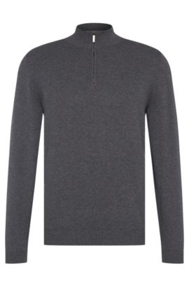 Regular-fit sweater in cotton with band collar: 'Igor', Grey