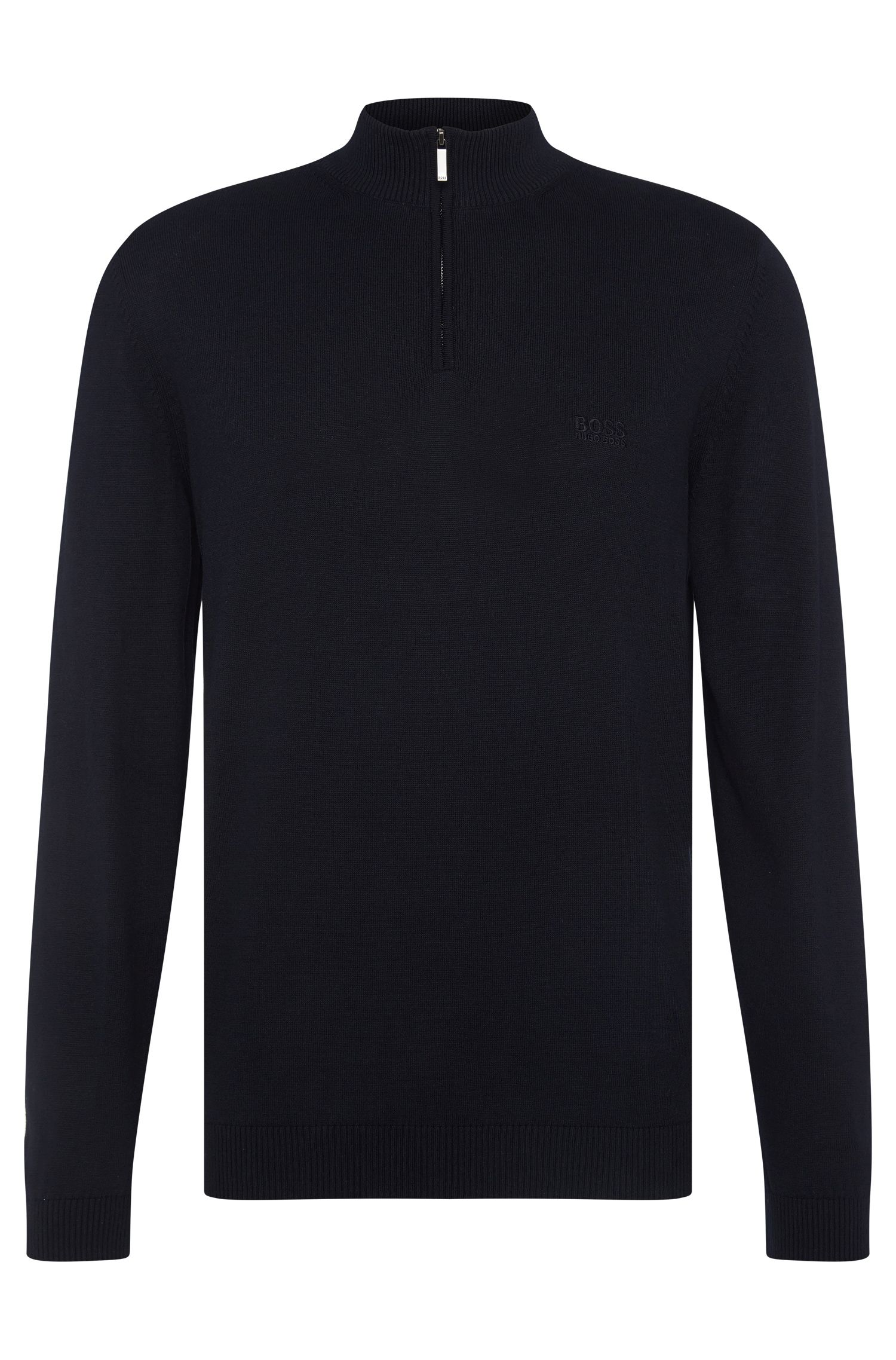 Regular-fit sweater in cotton with band collar: 'Igor'